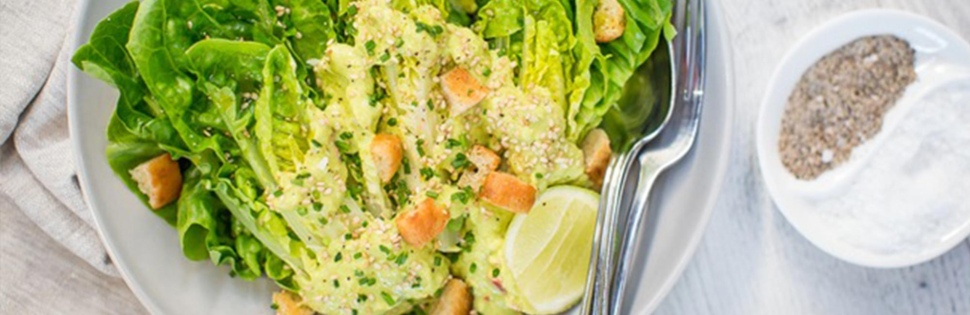 Baby Cos and Crouton Salad with Avocado Dressing