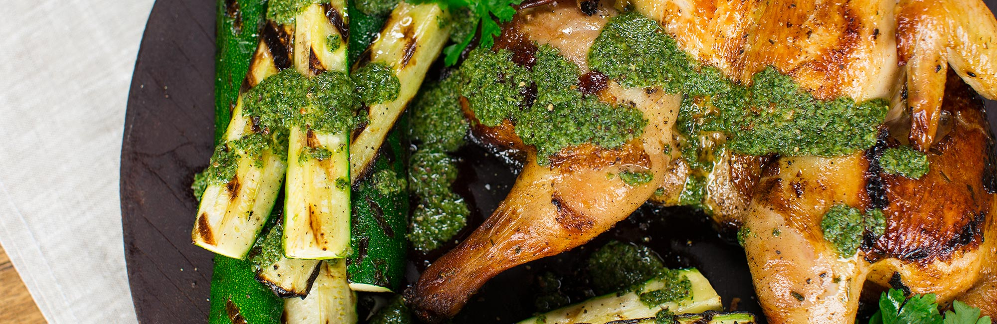 Butterfly Chicken with Kale and Courgette