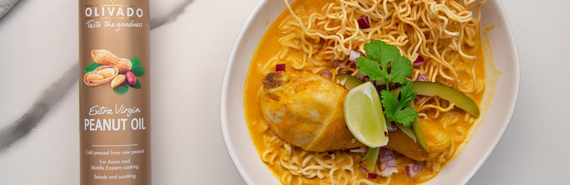 Crispy Noodle Chicken and Coconut Soup