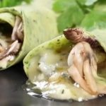 Crepes with Spinach, Cheese, Mushrooms