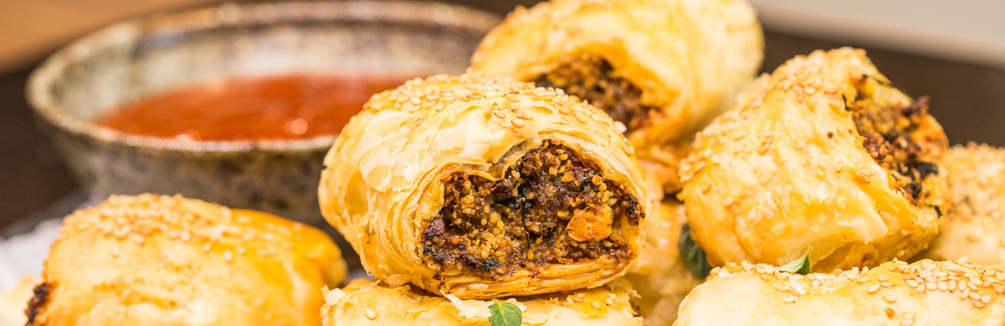 Greek Lamb Sausage Rolls