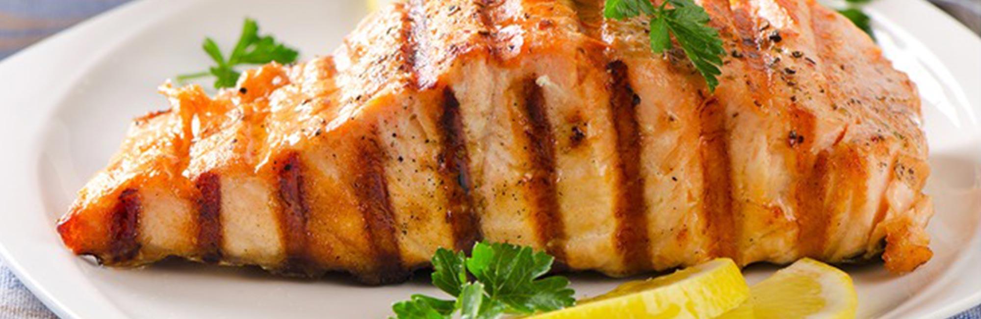 Grilled Salmon Steak with Leeks Recipe