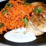 Moroccan Carrot Salad with Chicken Breast and Feta Dressing