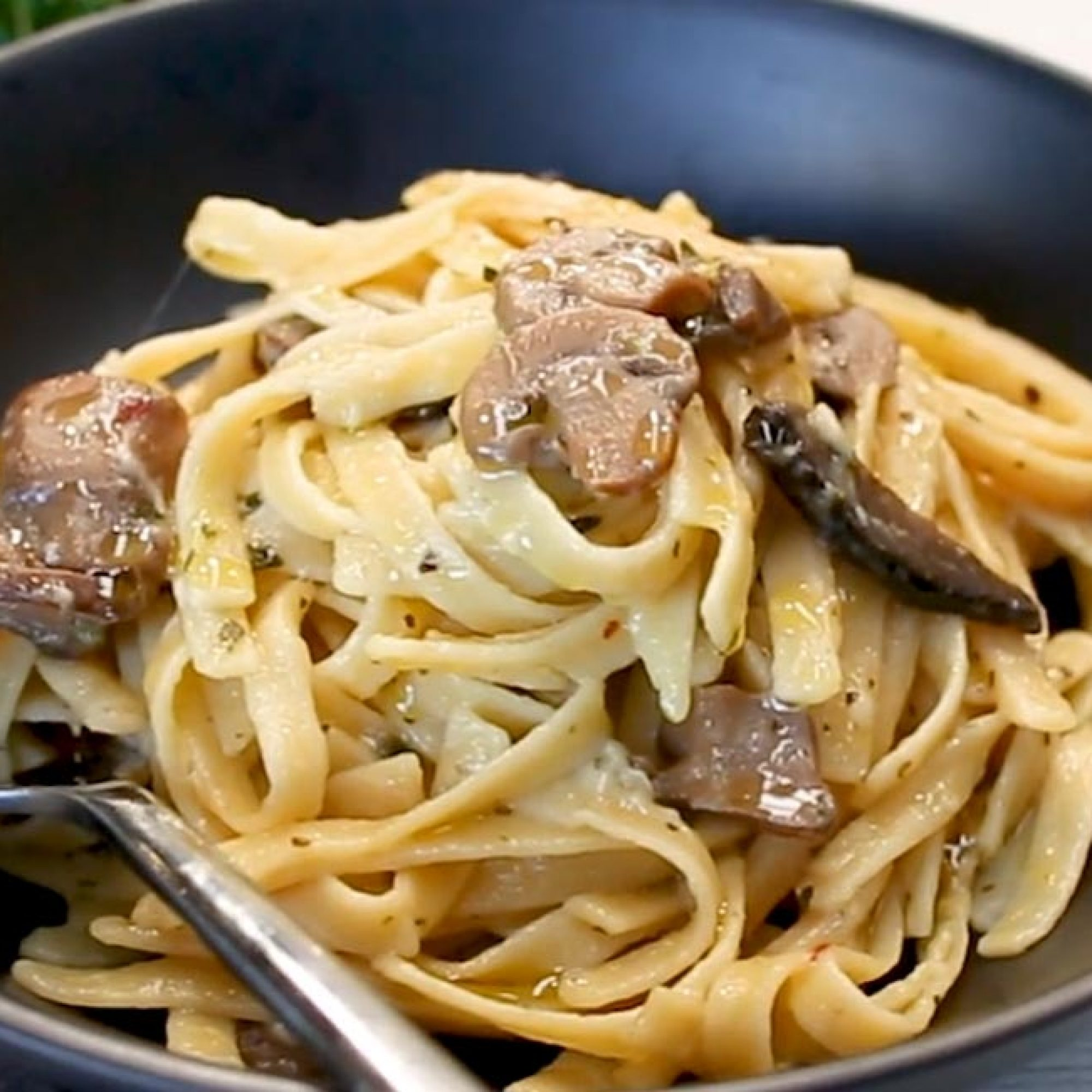 Mushroom and Garlic Fettuccine