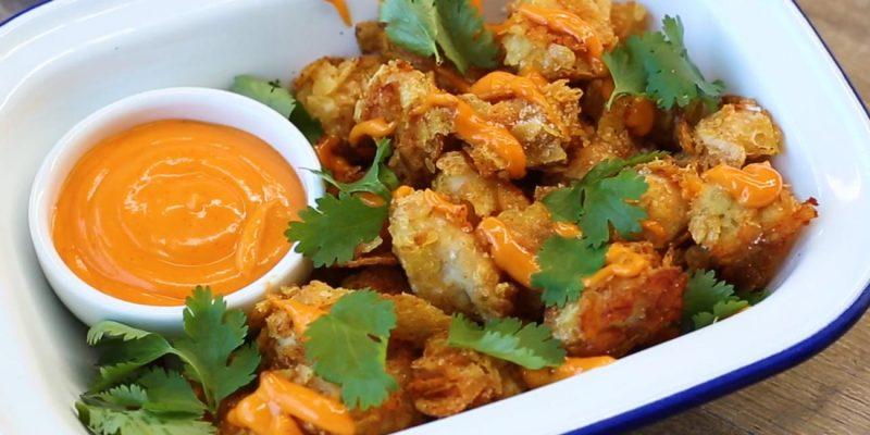 Potato Chip Crusted Chicken with Sriracha Mayo