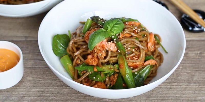 Salmon Asparagus Soba Noodles