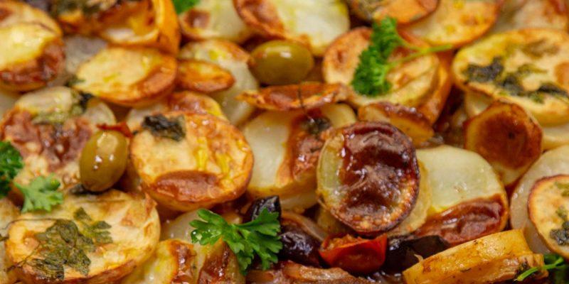 Lamb, Tomato, Olive, Chilli Scalloped Potato Bake