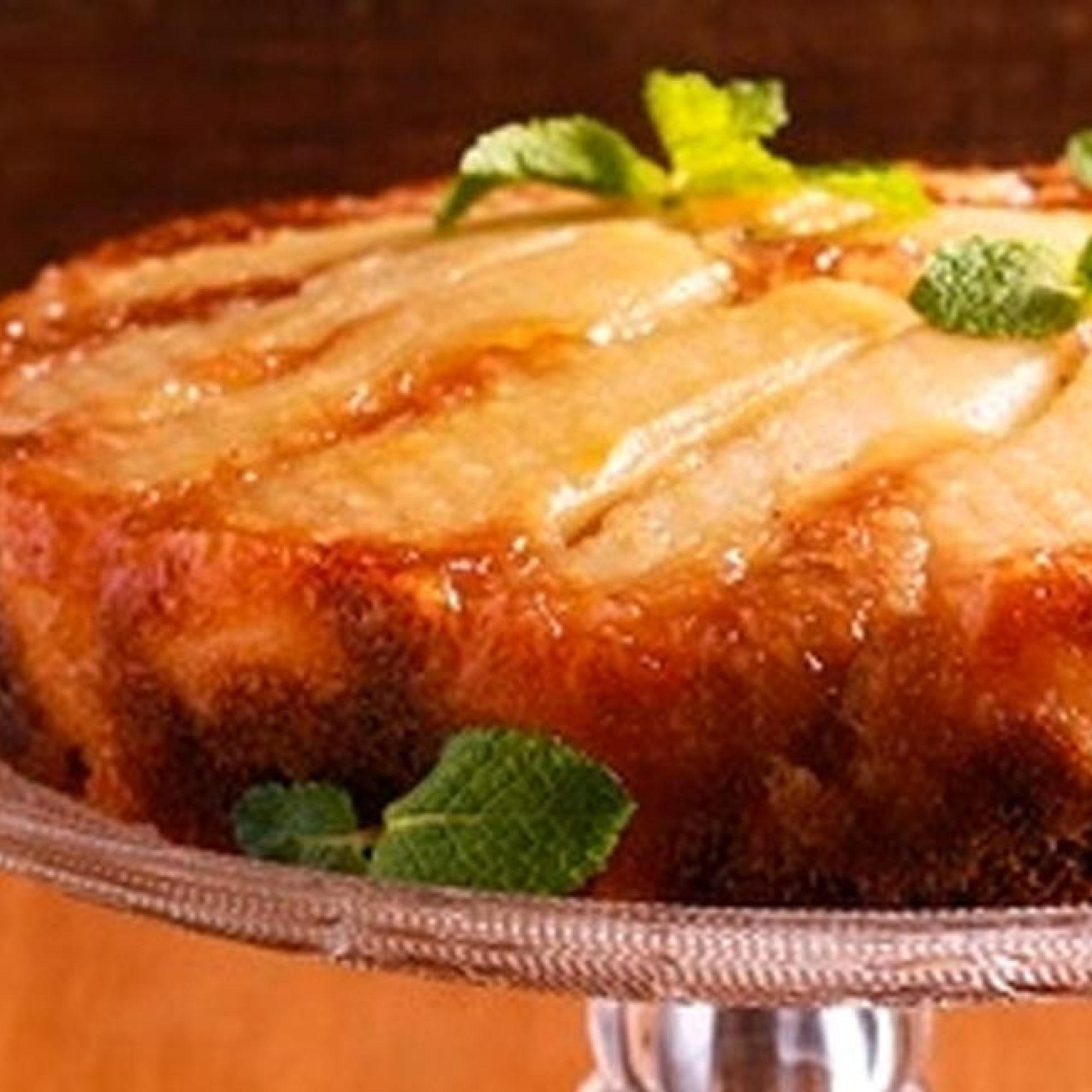 Upside down Pear and Polenta cake