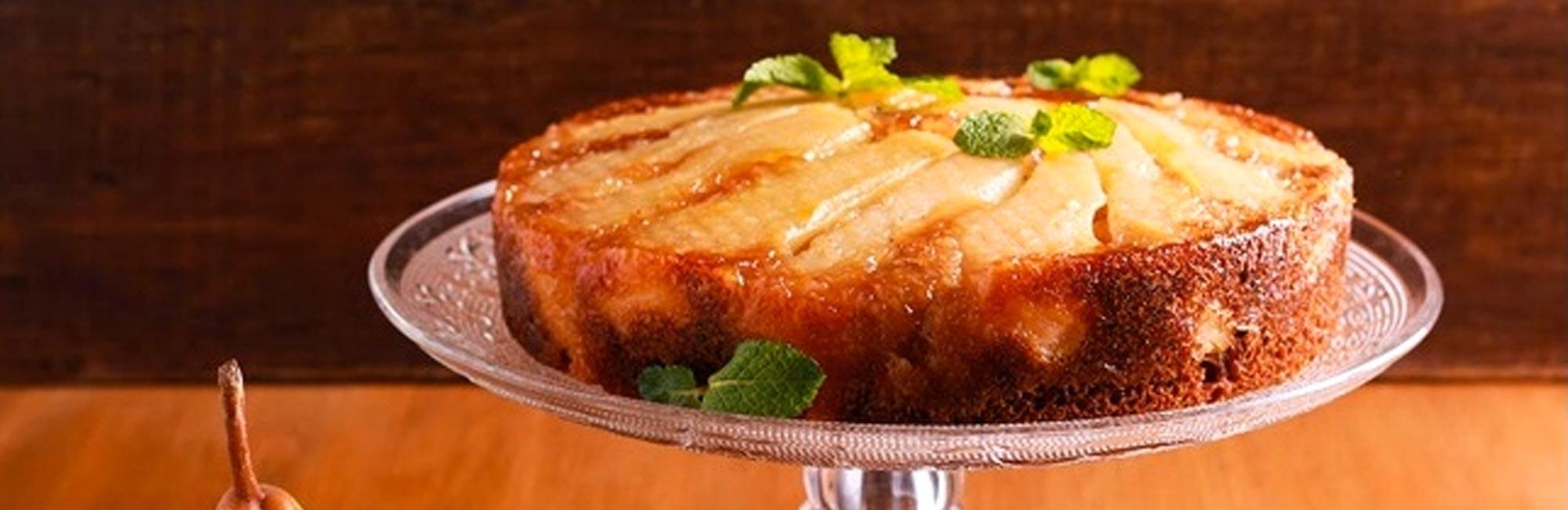 Upside down Pear and Polenta cake