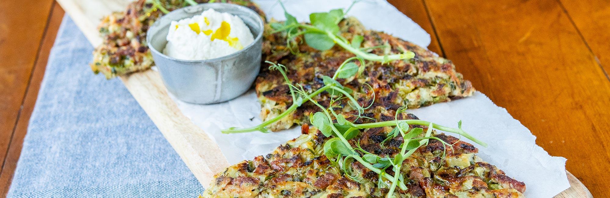 Bacon, Sweet Stem Broccoli & Potato Fritters