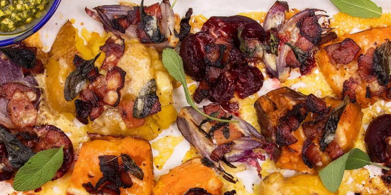 Cheese, Bacon & Sage Smashed Root Vegetables Recipe
