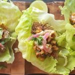 Chicken, blackened corn, red onion and chipotle mayo lettuce cups
