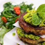 Hoki Hash Fritters with Chilli Herb Smashed Peas and Greens