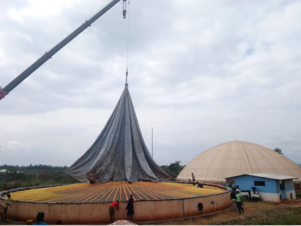 Biogas dome installation