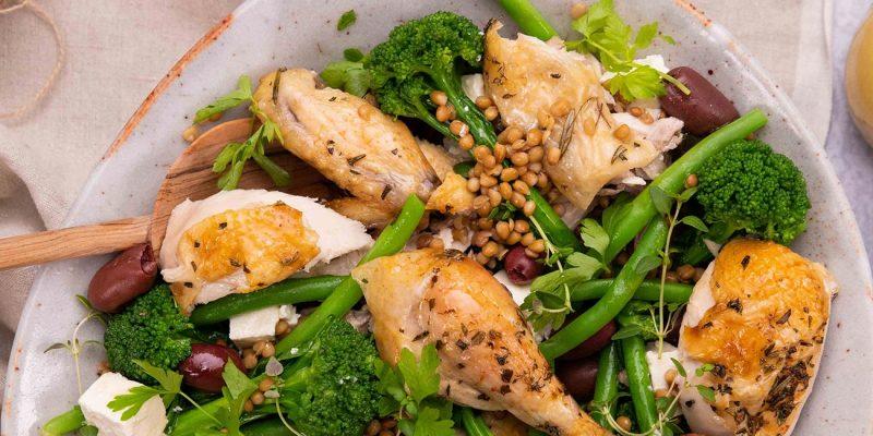 Herby Lemon Roast Chicken & Lentil Salad