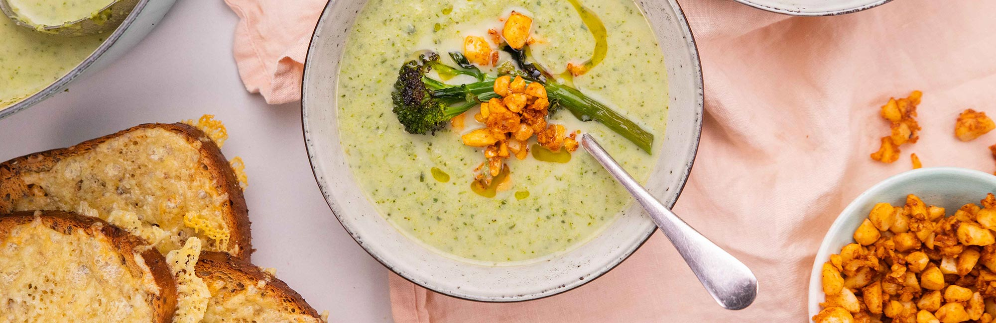 Sweet Stem Broccoli Soup with Smoked Macadamia Crumb Recipe