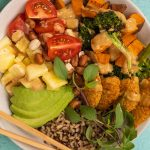 Plant Based Burger Buddha Bowl with Thai Peanut Sauce Recipe