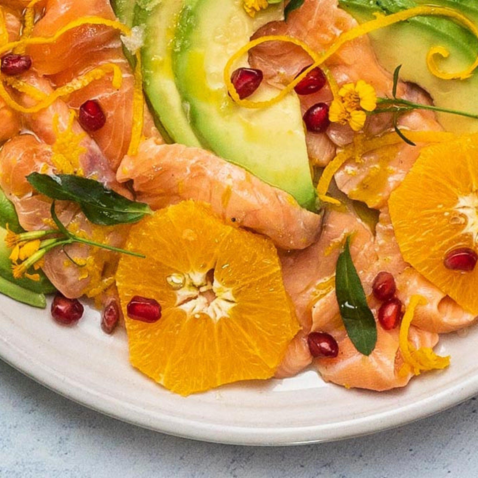 Salmon Carpaccio with Taragon, Avocado & Orange Recipe