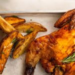 Air Fryer Roast Chicken with Potato Wedges