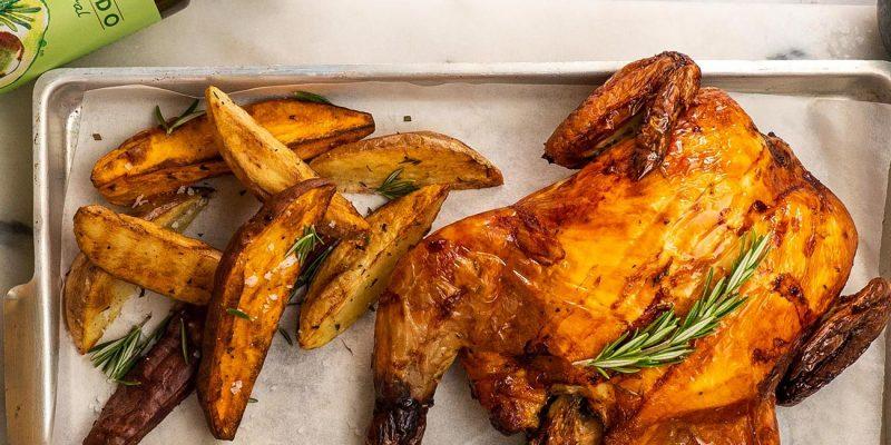 Air Fryer Roast Chicken with Potato Wedges