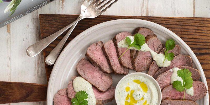 Cold Slices of Roast Lamb with Coriander & Jalapeno Yoghurt Recipe