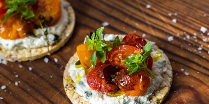 Whipped Ricotta, Roast Tomato & Basil Corn Thins Recipe