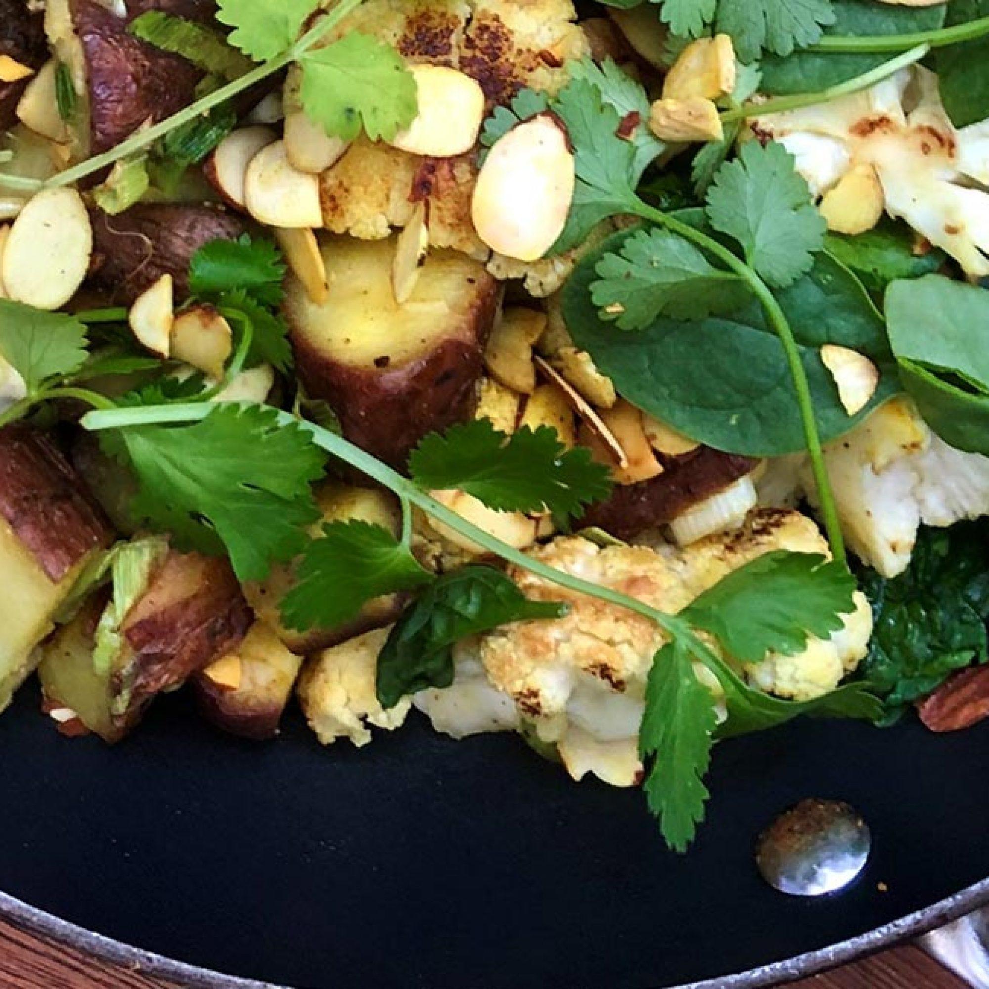 Roasted Kumara & Cauliflower with Curry Dressing Recipe