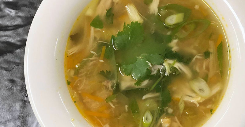 Chicken soup starter perfect food for cold winter nights